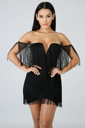 White cut off shorts online shopping - Tassel Dress Women Sexy Summer Off Shoulder Beach Dress Strap Low Cut Black White Short Party Dresses For Sexy Lady