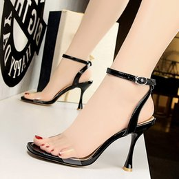 glasses straps NZ - Goddess2019 Women's Wind Black Shoes Wine Glass High With Square Sexy Hollow Out Transparent One Word Bring Sandals Woman