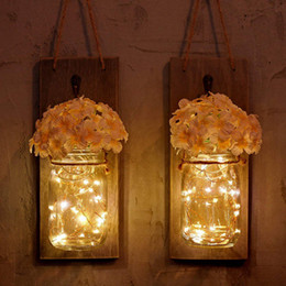 rustic wall sconce lighting 2019 - 2PCS Set Mason Jar Home Decoration LED String Light Wall Lamp Fairy Garland String Lights Rustic Wall Sconces Fake Flowe