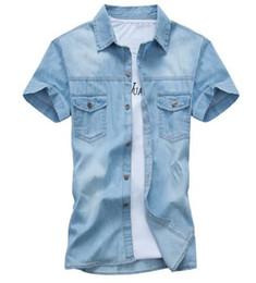 New fashioN dress teeN online shopping - 2019 new fashion Men s Summer New Men s Short Sleeve Denim Shirt Teen Korean Slim Cotton Shirt