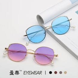 $enCountryForm.capitalKeyWord Australia - 2019 New Star with the Round Frame Metal Cat Eye Hollow Sunglasses Pearl Temple Sunglasses Personality