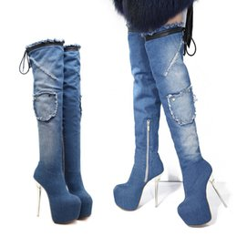 121f0abf7aa0 Women Thigh High Over The Knee Boots Sexy Street Style Size Zipper Round Toe  Denim Stiletto Heel Winter Boots Platform Shoes