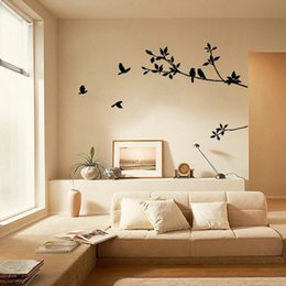 Black Birds Wall Stickers Australia - Tree Branch Black Bird Art Wall Stickers Removable Vinyl Decal Home Wall Stickers Home Decor #Y9