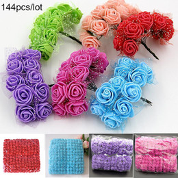 Fake Flowers For Cheap Australia - 144pcs 2cm MINI foam roses for home Wedding fake Flower Decora Scrapbooking diy wreath gift box cheap Artificial Flower Bouquet