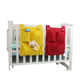 Cot Toys For Babies Australia - Newborn Bed Hanging Storage Bag Baby Cot Bed Brand Baby Cotton Crib Organizer 45*35cm Toy Diaper Pocket for Crib Bedding Set New