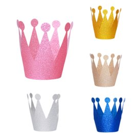 $enCountryForm.capitalKeyWord Australia - 6Pcs lot Glitter Little Prince Princess Plastic Crown Hats Birthday Party Baby Shower Kids Birthday Decorations Party