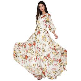 $enCountryForm.capitalKeyWord UK - Women Beach Skirt Female Printing Flower Long Dress New Multicolor Printed Sexy V-Collar White Maxi Dress Long sleeve