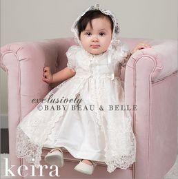 Kids European Hat Australia - Baby 1st birthday dress palace style infant kids christening dress girls princess dress+lace embroidery dress+falbala hat 3pcs sets F716