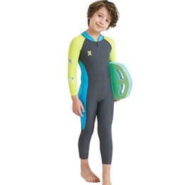 $enCountryForm.capitalKeyWord Australia - Kids Boy Clothes for Swimming Long Sleeve One Piece Swimsuit Summer Beach Holiday UV Protection Surfing Diving Swimming Suit