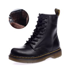 women shoes boots martin Australia - 2019 High Quality Martin Boots Winter Warm Genuine Leather Boot Couples Shoes Women Men Outdoor Boots with Fur Size 35-46