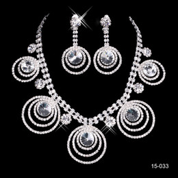 Sheer rhineStoneS prom dreSS online shopping - Bridal Necklace Elegant Silver Plated Rhinestone Earrings Jewelry Set Cheap Accessories for Prom Dresses Evening Dress
