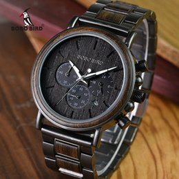 Men Watch Gift Box Australia - Bobo Bird Business Men Watch Metal Wood Wristwatch Chronograph Date Display With Gift Box Relogio Masculino U-q26 Y19051703