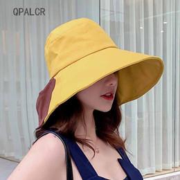 b34376cc9776ed Hip Hop Bucket Hats Australia - QPALCR Patchwork Bow Bucket Hats Black  Yellow Bob Cap Hip