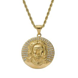 $enCountryForm.capitalKeyWord Australia - hip hop Jesus Christ pendant necklaces for men women luxury diamond Christian god pendants stainless steel gold religion necklace gifts