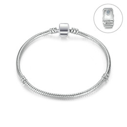 $enCountryForm.capitalKeyWord NZ - New Silver Plated Basic Snake Chains women & Men Magnetic clasp Bangle for Charm European Beads bracelet & Jewelry Making