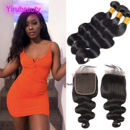 Indian Products Australia - Indian Virgin Hair Bundles With 7X7 Lace Closure Middle Three Free Part Body Wave Hair Products 8-30inch Natural Color