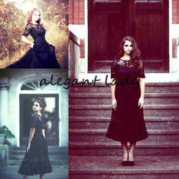 f844662d622 Victorian dresses crystals wedding online shopping - Vintage Tea length s  Black Lace Wedding Dresses Jewel