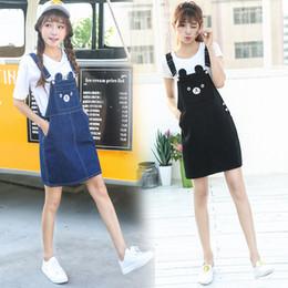 $enCountryForm.capitalKeyWord NZ - Fashion Summer Cute Preppy Style Denim Women 2019 New Female Lovely Embroidered Suspenders Adjustable Denim Jumpsuits