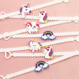 Party Birthday Unicorn Bracelets Girls Boys Favors Bag Fillers Kids Baby Emoji Wristband Child Gift SSA35 NZ020
