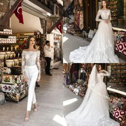 Short wedding dreSS church online shopping - Beauta Neck Bridal Wedding Jumpsuit with Detachable Train Full Lace Applique Plus Size Princess Church Garden Wedding Gown