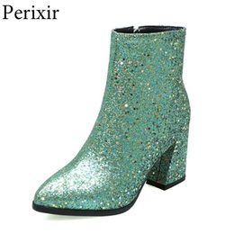 side zip shoes NZ - Winter Glitter Shoes Women Runway Bling Ankle Boots Gold Silver Shiny Shoes Side Zip Square High Heel Comfort Casual Woman