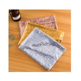 square embroidery tablecloths 2019 - Mermaid Sequins Embroidery Table Runner Cloth Banquet Tables Cover Full Page Silver Gold Color Mediterranean Sea Style t