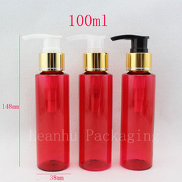 Discount red plastic container pump - 100ml X 50 travel red cosmetic lotion pump plastic bottles , empty cosmetic packaging container pump , shampoo bottle pu