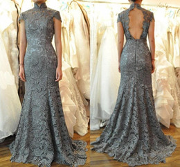 Backless Mermaid Dress Short Sleeve Australia - Vintage Gray Lace Mermaid Formal Evening Dress High Neck Short Sleeve Backless Long African Party Prom Gown Mother Of Bride Wear Plus Size