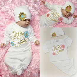 $enCountryForm.capitalKeyWord Australia - Cute Baby Girl Clothes Newborn Infant Girl Take Home Baby Gown Floral Sleepwear Costume Hat Pajama