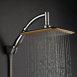 Ingrosso Braccio doccia a muro in ottone con finitura cromata a 9 pollici + soffione quadrato ultrasottile 9