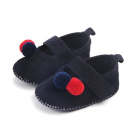 Discount suede leather baby moccasins - 0-12Months 0-18M Lovely Hair Ball Baby Girl Shoes Suede Leather First Walker Moccasins Newborn Mary Jane Soft Sole Crib