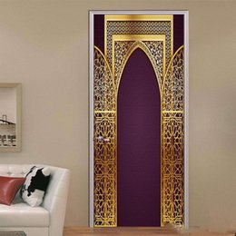 $enCountryForm.capitalKeyWord Australia - 2Pcs Set Custom Islamic Patterns Door Decal Large Size Window Vinyl Sticker Muslim Self-Adhesive Wallpaper Home Decoration