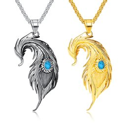 Mens Love Pendant Necklace UK - Silver Gold Feather Titanium Pendant Hip Hop Designer Jewelry Choker Iced Out Chains Stainless Steel Jewelry Mens Necklace