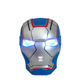 wholesale spiderman masks Australia - LED Glowing Light Mask super hero Spiderman Hulk Iron Man rabbit full half Face Mask For Kids Adults Christmas Halloween Birthday Party gift