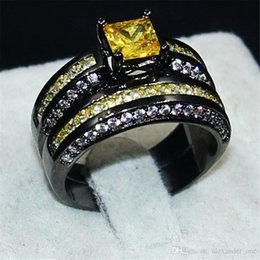 $enCountryForm.capitalKeyWord NZ - Fashion Jewelry yellow 6*6mm Princess-cut Topaz gemstone rings finger set 2-in-1 Luxury 10KT Black Gold Filled Cocktail Brand Ring for Women