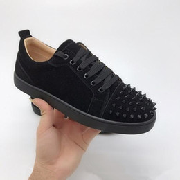 Black shoes spikes online shopping - Red Bottom Low Cut Spikes Flats Designer Shoes For Men Women Leather Suedue Red Bottoms Sneakers Designer Shoes With Box