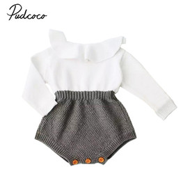 Discount fall rompers - Pudcoco Newborn Baby Girl Wool Blend Baby Romper Warm Knit Sweater Long Sleeve Rompers Fall Autumn MX190720