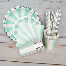 plate napkins NZ - Mint Blue and Silver Foil Tableware Dessert Dishes Dinner Plates Cups Napkins straws for Wedding Birthday