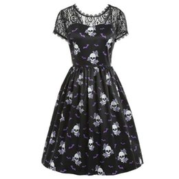 $enCountryForm.capitalKeyWord UK - Women Dress Elegant Patchwork Lace Sleeve Summer Backless Sexy Fashion Skull Print Vintage A Line Female Gothic Party Dresses