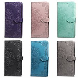iphone clamshell case UK - Clamshell Embossed Flower Wallet Leather Cases for iPhone 11 Pro XS Max 6 7 8 Plus X XR Lace Cover