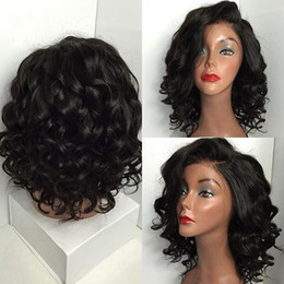 women human hair wig Canada - Women Curly Human Hair Wig Black Brazilian Short Wavy Lace Front Parting High Temperature Fiber Wig Hair10.8 T190620