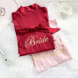 $enCountryForm.capitalKeyWord NZ - Wine red Embroidery Bride Wedding Robe Satin Women Kimono Bathrobe Sexy Sleepwear Bridesmaid Dressing Gown Casual Nightdress