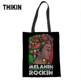 $enCountryForm.capitalKeyWord Australia - THIKIN Black Art African Girls Print Ladies Summer Beach Bags Females Eco Storage Shopping Bag Custom Linen Tote Bags for Women