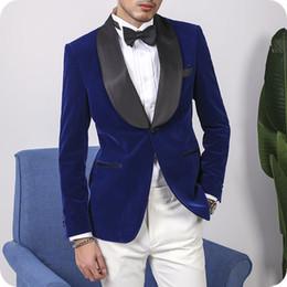 $enCountryForm.capitalKeyWord NZ - Blue Velvet Groom Wear Men Wedding Suits White Pants Smoking Jacket 2Piece Man Blazer Costume Homme Man Outfit Shawl Lapel Terno Masculino