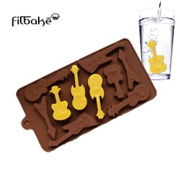 $enCountryForm.capitalKeyWord Australia - Silicone Mold 10 Even Guitar Shapes 3D Chocolate Mould Ice Cube Tray Mold DIY Baking Molds Pudding Cake Decorating Tools