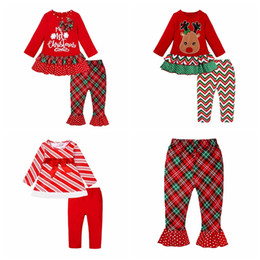 tutu children Australia - New design baby girls christmas clothing set red color long sleeve children X'mas holidays 2pcs outfit suit
