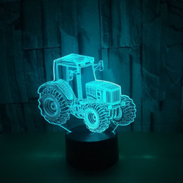 small remote control lights Australia - New Pattern Tractor 3d Small Night-light Colorful Touch Remote Control Originality Gift Atmosphere Three-dimensional 3d Small Desk Lamp
