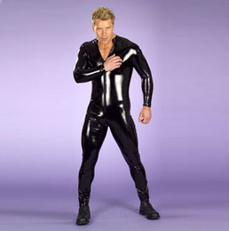 sexy long sleeve black jumpsuit NZ - Man Sexy Exotic Long Sleeve Jumpsuit Patent Leather Costumes with Front Zip For Bar Clubwear Stripper Party Fancy Open Crotch Jumpsuits