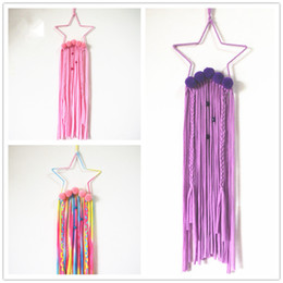 $enCountryForm.capitalKeyWord NZ - Kids five-pointed star Hair Clips Storage 20x65cm 3 colors fashion hairpins belt holder wall hanging receiving Kids room decoration display