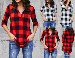 cotton tunic tee NZ - Fashion Plaid tshirt Plus Size S-5XL Summer T Shirt Women Clothes Tunic Camisetas Mujer Tops Casual Grid T-Shirt Top Tee
